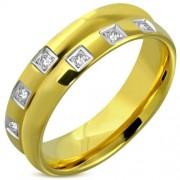 Arany színű nemesacél gyűrű cirkónia kövekkel-7