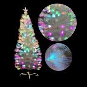 Brad Artificial de Craciun ALB cu Fibra Optica Multicolora 180cm Suport Metal