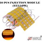 Eshopglee 3 LED DC 12V Waterproof Injection Led Modules Light 5630/5730 SMD - 10 Module (Yellow) + Free 12v Dc Adaptor