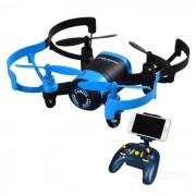 JXD 512W 2.4GHz FPV 4-Axis RC quadcopter con camara de 0.3MP - negro + azul