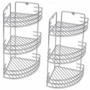 vidaXL Rafturi de colț pentru duș cu trei polițe din metal, 2 buc.