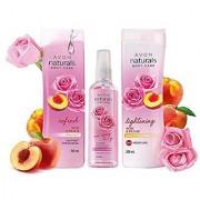 Avon Naturals Rose Peach Whitening Body Lotion + Shower Gel + 3 in 1 Rose Hydro Spritz (combo)