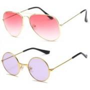 SRPM Aviator, Round Sunglasses(Pink, Violet)