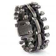 brăţară ETNOX - Skulls on Leather - SA515