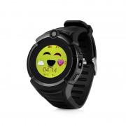 Ceas inteligent pentru copii GW600 Negru cu telefon localizare GPS WiFi ecran touchscreen color monitorizare spion