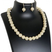 AriaSparkles Royal Fashion Imitation Pearl 12mm Strand Single Line String Moti Mala Women Girls Necklace Earring Set (White)