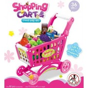 Delex Children Shopping Cart Trolley Playset Includes 52 Grocery Shop Accessories. Great Christmas Xmas \ Birthday Gift New (Pink)