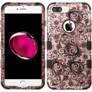 Funda Case Para IPhone 7 Plus / IPhone 8 PlusProtector Doble De Uso Rudo-Rose Gold Lace