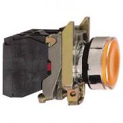 Buton cu revenire 1NO+1NC cu lampa galbena 230V