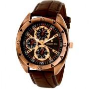 Golden Bell Men'S Brown & Black Round Genuine Leather Strap Wrist Watch (192Gb)