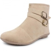 Vaniya shoes Women's Cream Ankle Length Boots