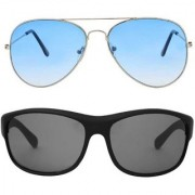 Ivonne UV Protection Gradient Aviator Wrap-around Sunglasses (Free Size) (Blue Black)