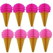 Pink Hanging Honeycomb Ice Cream Decorations - Pack Of 8 - Ice Cream Party Hanging Tissue Paper Decorations Are Great For Parties And Events!!