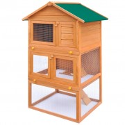 vidaXL Vonkajšia králikáreň/klietka pre malé zvieratá, 3 poschodia, drevená