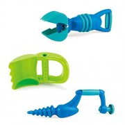 Hape Sand Digging Beach Toy Play Set - Hand Digger, Grabber, and Driller