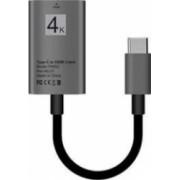 Cablu USB 3.1 Type C la HDMI 4K mama - Adaptor HUB tip C pentru video HDMI 20 cm pentru dispozitivele Type-C Negru SHO669
