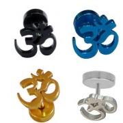 Shiv Jagdamba Best Quality Om Piercing Combo (4 Earring) SEr005067 Black Silver Gold Blue Stainless Steel Stud Earring Men and Women