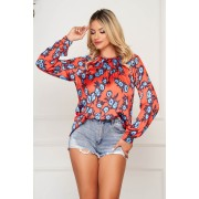 Bluza dama PrettyGirl portocalie scurta eleganta din material satinat cu croi larg cu maneci lungi cu imprimeu floral
