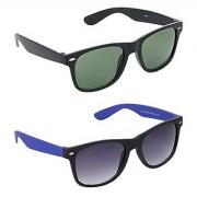 Hrinkar Green Mirrored Wayfarer Unisex Sunglasses