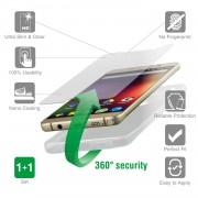 4smarts 360° Protection Set - тънък силиконов кейс и стъклено защитно покритие за дисплея на Huawei Y5 (2017), Y6 (2017), Nova Young (прозрачен)