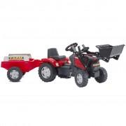 FALK Červený šlapací traktor s bagrovou lžicí a přívěsem