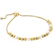 Michael Kors Pearl Tone and White Pearl Slider Bracelet Gold