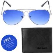 Adam Jones Gradient Blue UV Protected Unisex Aviator Sunglasses With free Wake Wood Wallet
