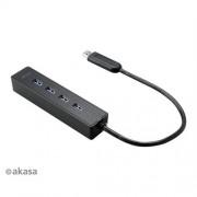 AKASA AK-HB-08BK 4-portový externý USB 3.0 HUB, čierny