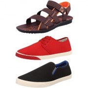 Chevit Men's Combo Pack of 3 Sandal & Casual Shoes (Loafers Sneakers & Floaters Sandals) TR-603+155+102-6