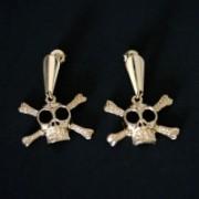 Semi Jewelry Earring Plated Gold Medium Deaths Head