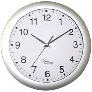 Ceas de perete radiocomandat analogic 30 cm, argintiu