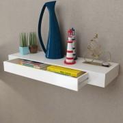 vidaXL White MDF Floating Wall Display Shelf 1 Drawer Book/DVD Storage