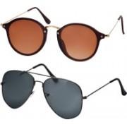 Freny Exim Aviator Sunglasses(Brown, Grey)
