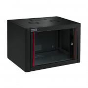 RACK, MIRSAN MR.WTE09U56.01, Сървърен шкаф за мрежово оборудване, 600 x 560 x 512 мм / 9U, черен, за стена, Eco