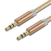 AUX kabel - Ljud kabel 3,5 mm - 1M Male till Male Guld