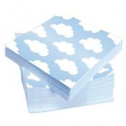 Geen Blauwe servetten met wolken 20 stuks