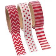 Red Washi Tape Set 16 Ft. Of Tape Per Roll (3 Rolls Per Unit)