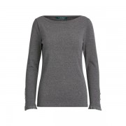 Lauren Long-Sleeve Boatneck Shirt - Lexington Grey Heather - Size: Medium