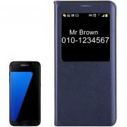 Para Samsung Galaxy S7 EDGE / G935 Litchi Texture Horizontal Funda De Cuero Flip Con Llamada Pantalla Id (azul Oscuro)