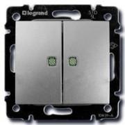 Переключатель двухклавишный с подсветкой Legrand Valena 10A алюминий