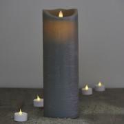 Candela di cera a LED - color grigio, 30 cm
