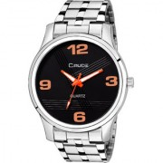 Crude Analog Watch Stainless Steel Black Color Dial Strap For Men's Boy's