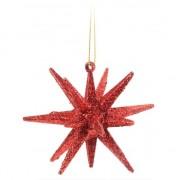 Geen 3D ster rood met glitters 7 cm