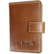 EL Mio Brand New Stylish, Classic & Royal 100% Pure & Natural Genuine Vintage Tan Leather Unisex Trendy Rustic Modern 3+ 15 Card Holder(Set of 1, Brown)