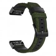 Canvas Jean+ Genuine Leather Watch Band Nylon Sports Watchband Strap for Garmin Fenix 5X / Fenix 5X Plus / Fenix 3 / Fenix 3 HR - Army Green