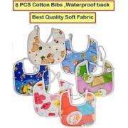Feeding Baby Bib Knot Style (Multicolor Random Design) Baby/ Infant Feeding Bibs with Waterproof Back 6 PCS CodeIz-8655