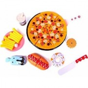 Realistic Sliceable Fast Food Lunch Play Pizza Set Toy for KidCutting Play Toy Set (Multicolour)