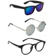 SO SHADES OF STYLE Round, Wayfarer, Retro Square Sunglasses(Blue, Silver, Clear)