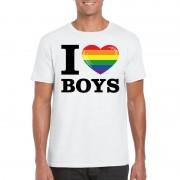 Bellatio Decorations I love boys regenboog t-shirt wit heren