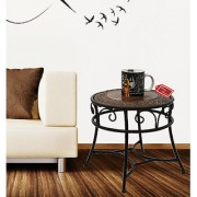 Onlineshoppee Wooden Iron Round Shaped Stool/Table Size(LxBxH-13x13x13) Inch